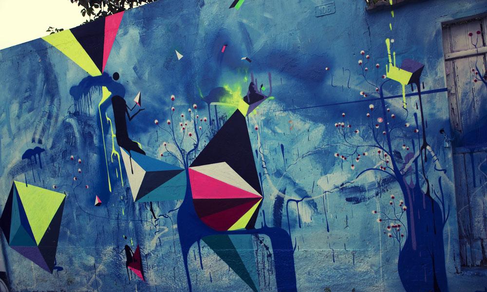 Blue geometrica graffiti Sao Paulo