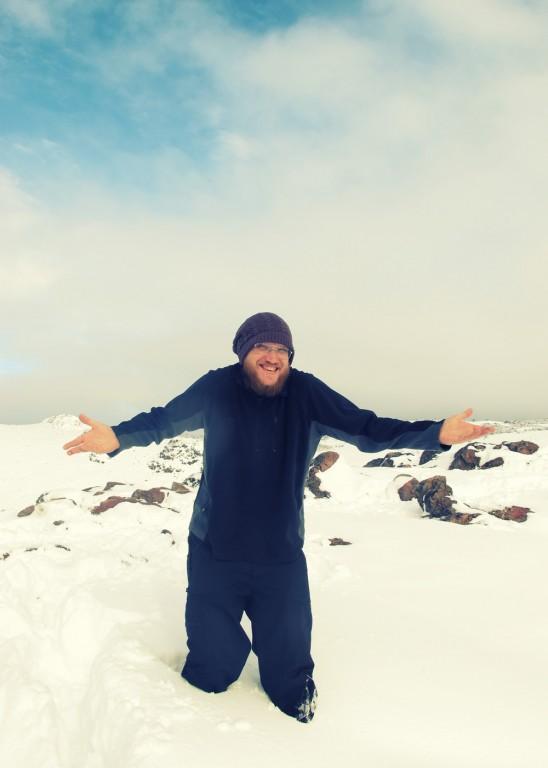 Knee-deep in snow above El Chalten
