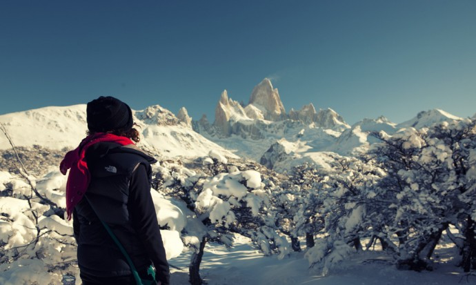 Victoria taking in Fitz Roy peak