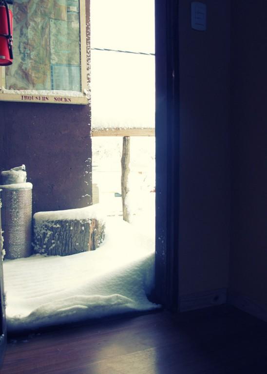 Waking up to snow in El Chalten
