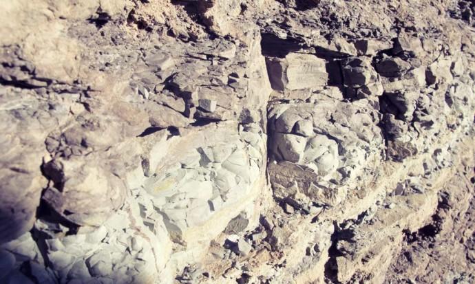 Rock layers at the Quebrada de Cafayate