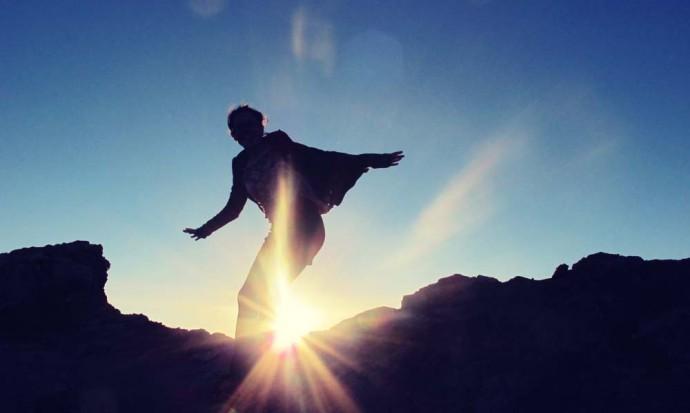 Sandboarding jump in San Pedro de Atacama