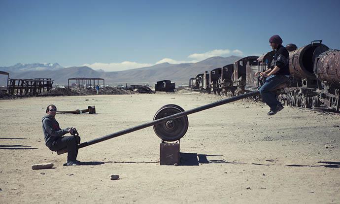 See-saw in train graveyard, Uyuni