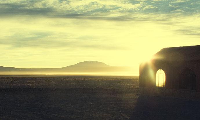 Sunset over Uyuni