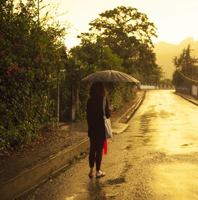 Golden light of Vilcabamba in the rain