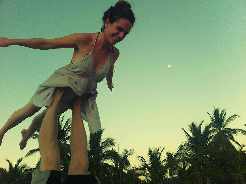 Acro yoga on San pancho beach
