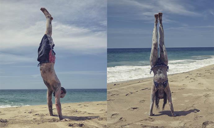 Victoria and Steve doing handstands