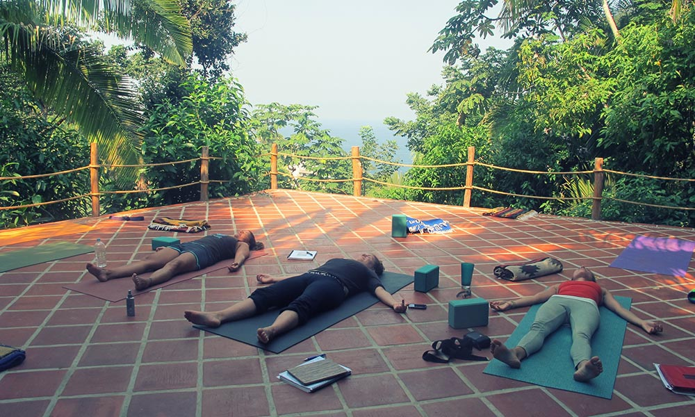 Savasana at yoga teacher training