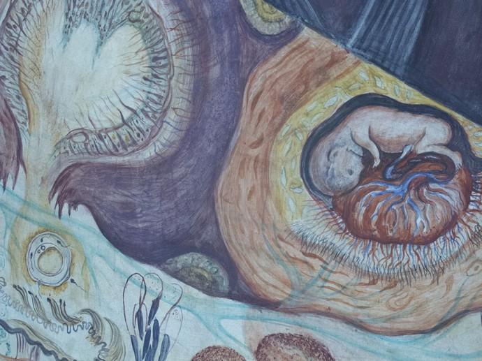 Baby in the womb - Diego Rivera El Hombre En El Cruce de Caminos