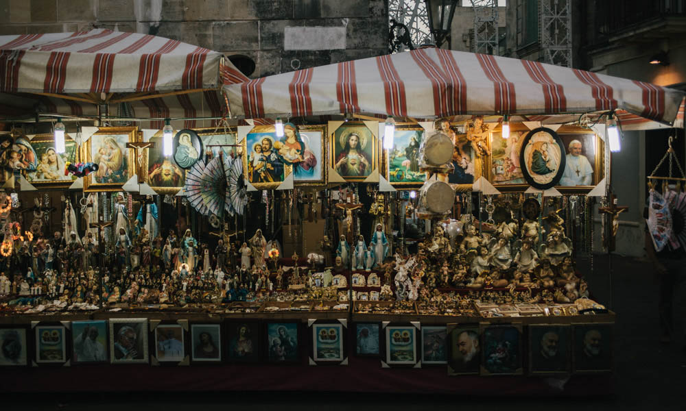 Italian night market religious stall