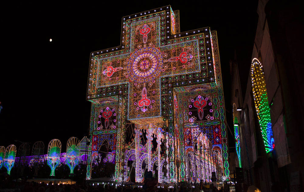 Cross of lights at Notte delle Luci
