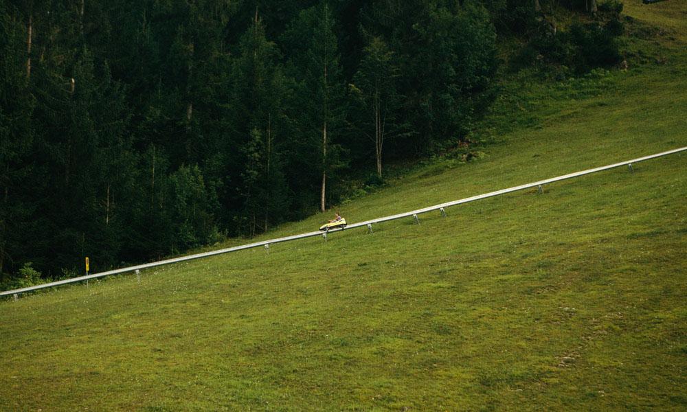 Riding the Straza Toboggan Ride at lake Bled