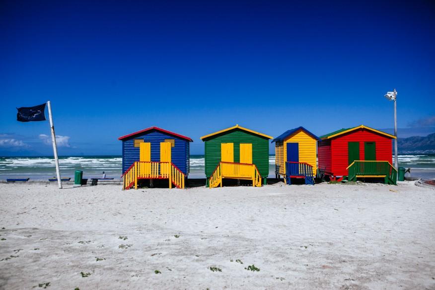 Muizenburg beach huts on Cape Town road trip