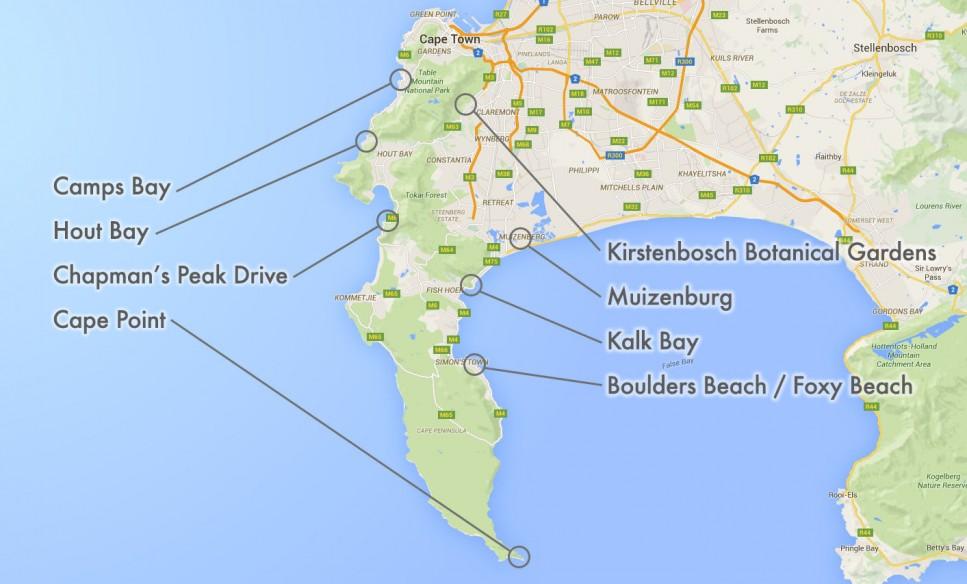 Cape Peninsula road trip map