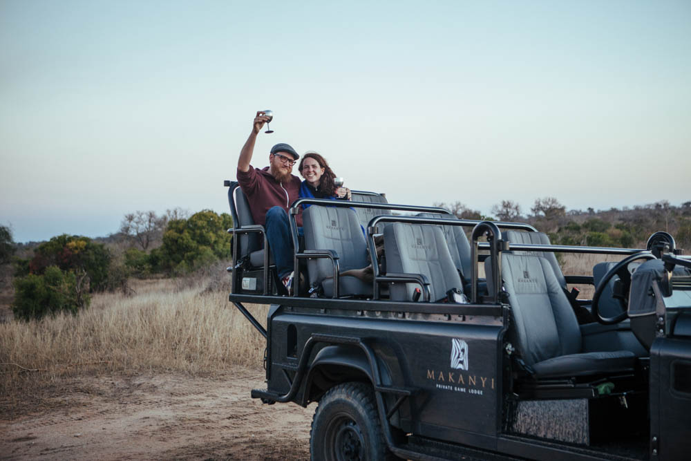 Victoria and Steve at Makanyi Safari Lodge, South Africa