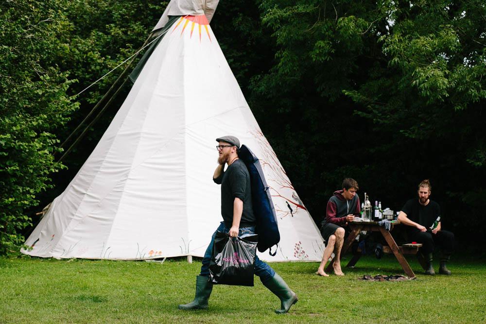 Steve getting ready for festival wedding in Cornwall