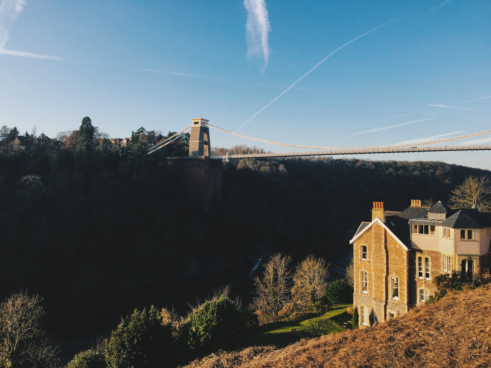 Clifton suspension bridge, Bristol, winter sunshine