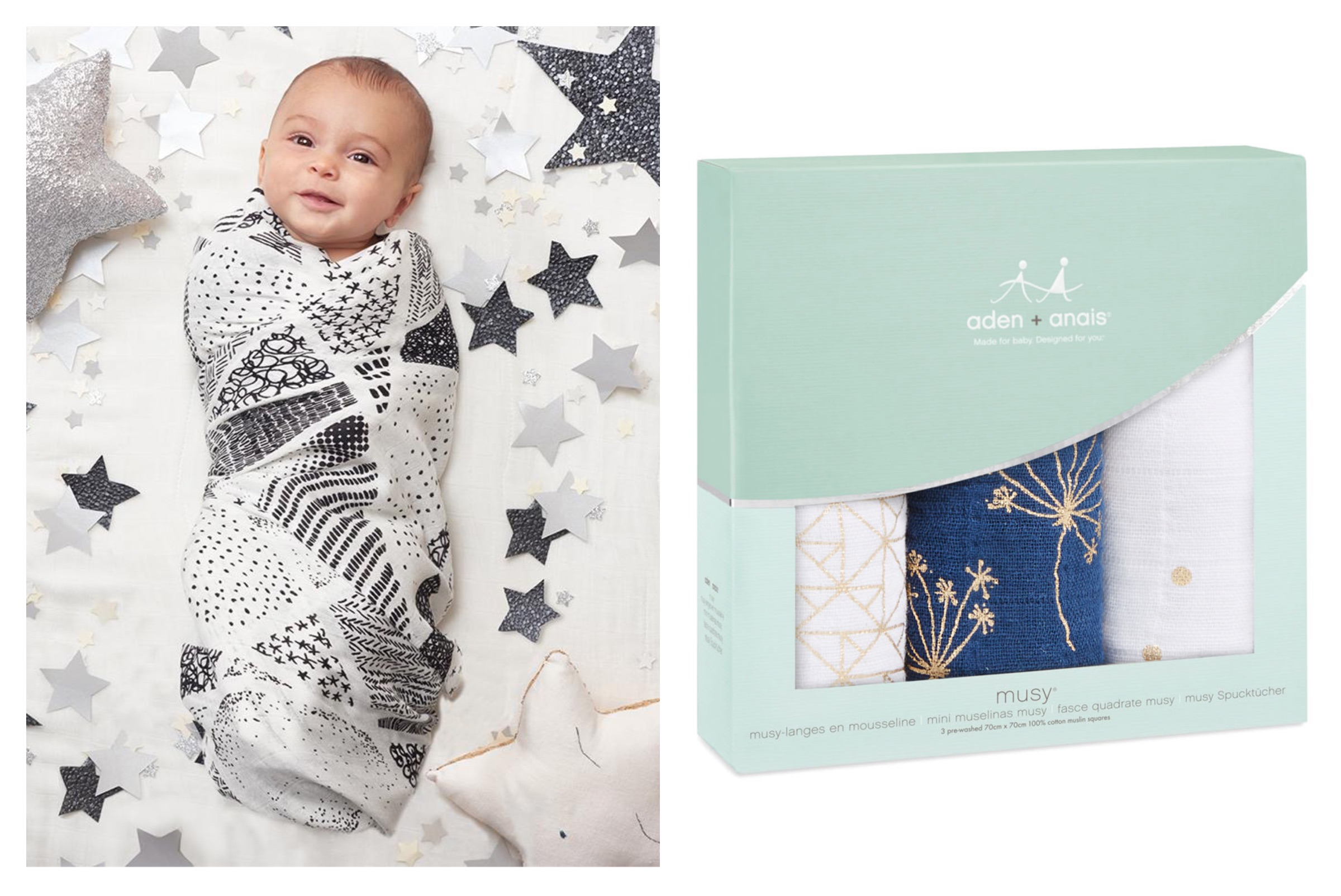 Stylish baby gifts - Natural Baby Shower - Muslins and Swaddles