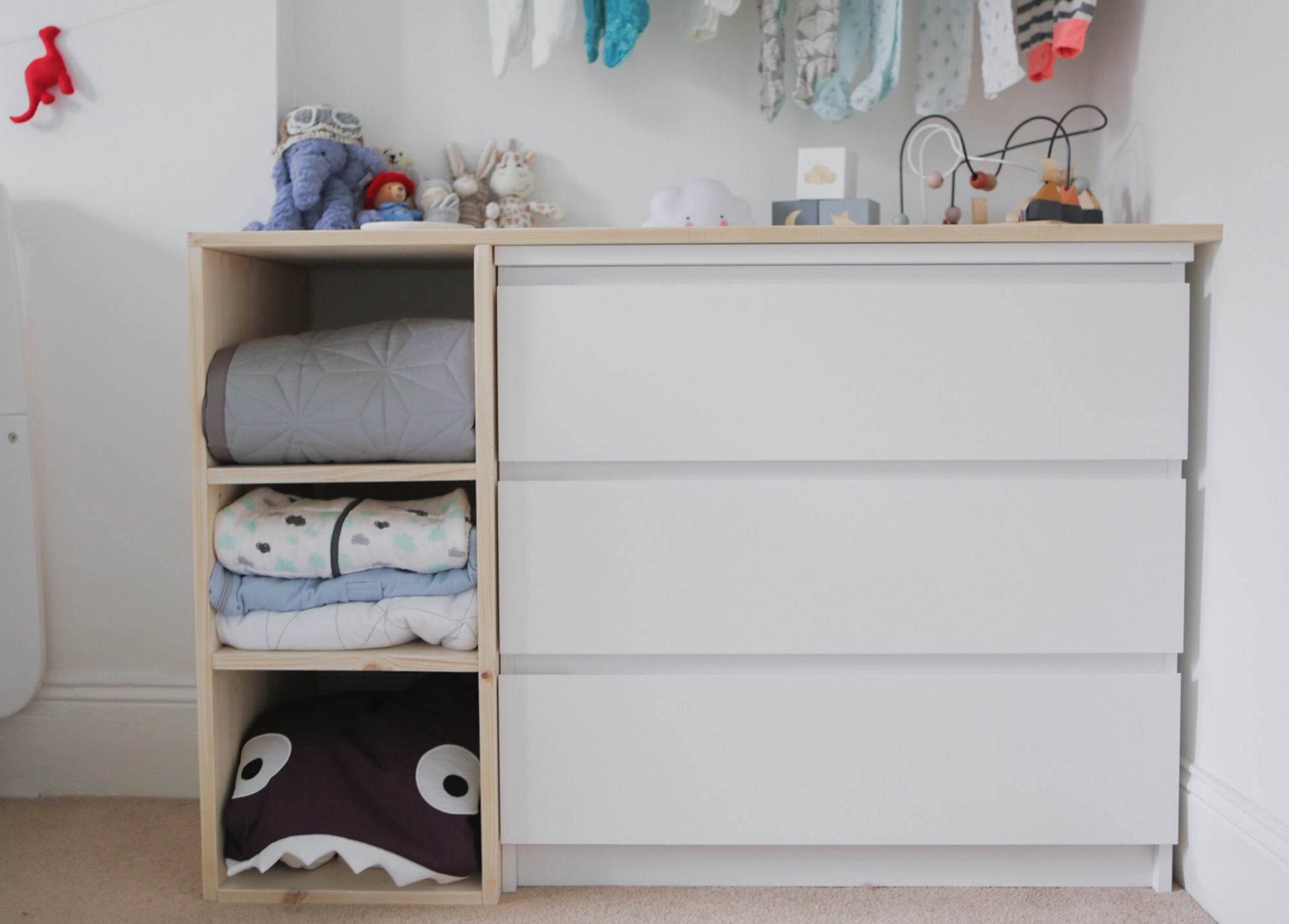 Travel theme nursery - Ikea hack Malm