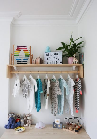 Travel themed nursery - Clothes rail and shelves