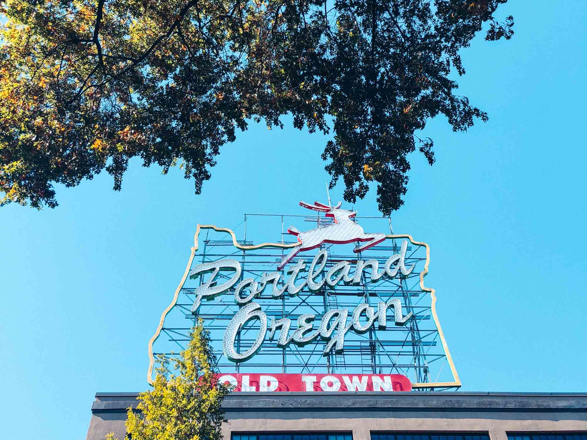 Things to do in Portland in three days: the white stag sign